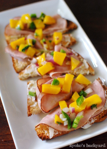 ブルーチーズ&ポークのサンドイッチ。マンゴーサルサ&ハムのカナッペ_b0253205_06290012.jpg