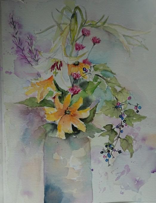 たかさごゆりと野ブドウの水彩画_f0035506_16071558.jpg