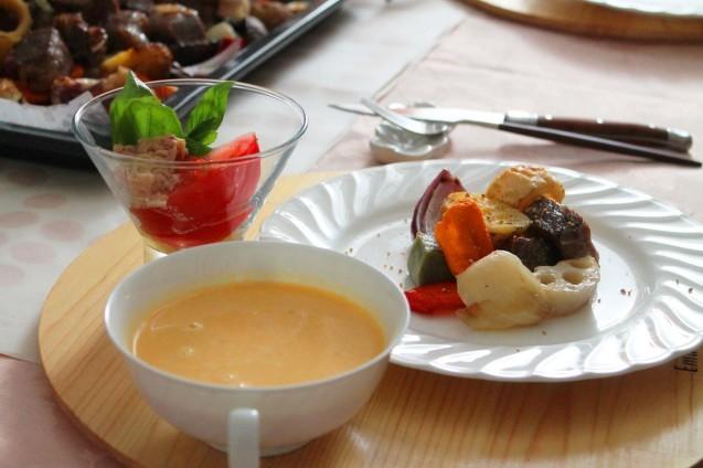 夏野菜と牛肉のぎゅうぎゅう焼き_d0377645_08542657.jpg