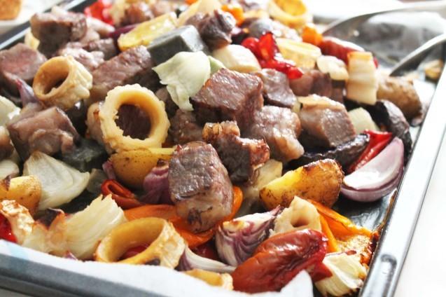夏野菜と牛肉のぎゅうぎゅう焼き_d0377645_08542994.jpg