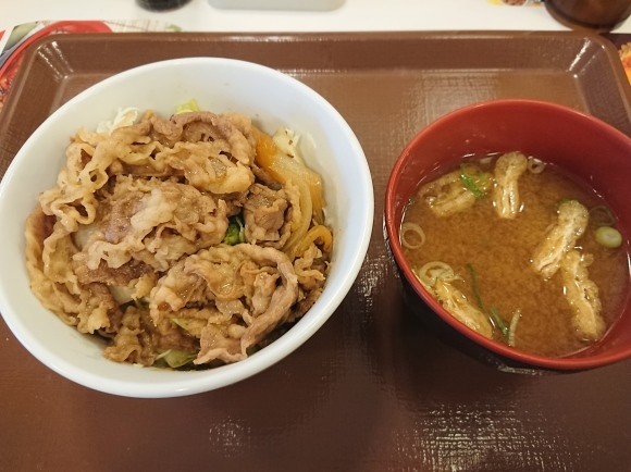8/25 牛丼ライトミニ&味噌汁¥470@すき家_b0042308_23500503.jpg