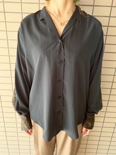 OKIRAKU◆ストライプ×異素材切替Shirts◆_e0269968_15312890.jpg