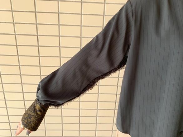 OKIRAKU◆ストライプ×異素材切替Shirts◆_e0269968_15313614.jpg