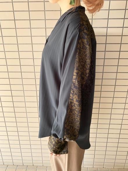 OKIRAKU◆ストライプ×異素材切替Shirts◆_e0269968_15353751.jpg