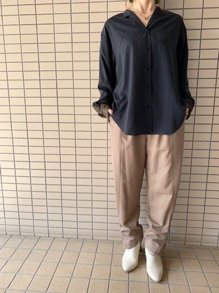 OKIRAKU◆ストライプ×異素材切替Shirts◆_e0269968_15354143.jpg