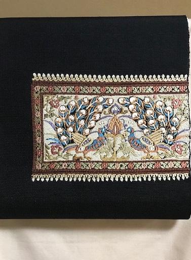 貴久樹さん孔雀の紬八寸帯+石下の結城紬。_f0181251_19000186.jpg
