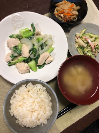 鶏肉とチンゲン菜の炒め物_d0235108_22150578.jpg