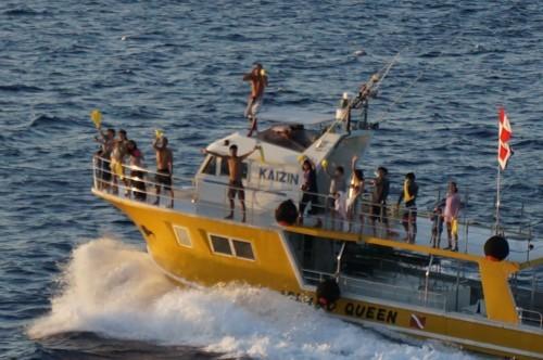豪華客船に別れを惜しむ漁船達_f0055131_15025011.jpg
