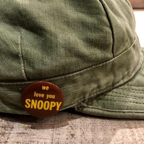 "1960s \"" U.S ARMY \"" 100% cotton SATEEN OG-107 VINTAGE UTILITY CAP - SNOOPY ピンズ付 - ._d0172088_17200687.jpg"