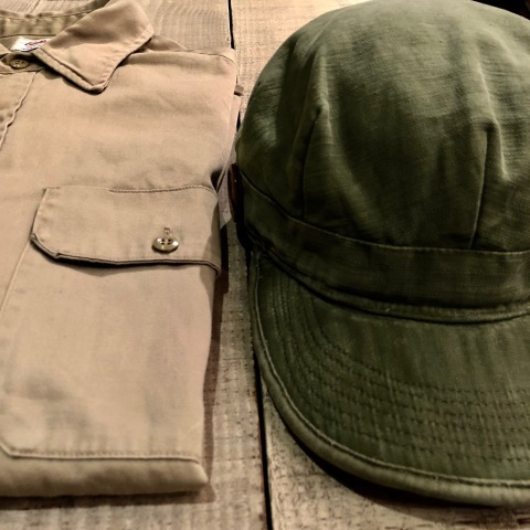 "1960s \"" U.S ARMY \"" 100% cotton SATEEN OG-107 VINTAGE UTILITY CAP - SNOOPY ピンズ付 - ._d0172088_17314802.jpg"