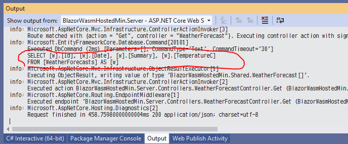 Entity Framework Core でデータベースを読み書きする ASP.NET Core アプリ開発中に、発行される SQL 文字列を確認する_d0079457_20534430.png