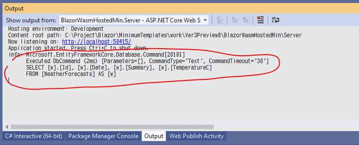 Entity Framework Core でデータベースを読み書きする ASP.NET Core アプリ開発中に、発行される SQL 文字列を確認する_d0079457_20535155.png
