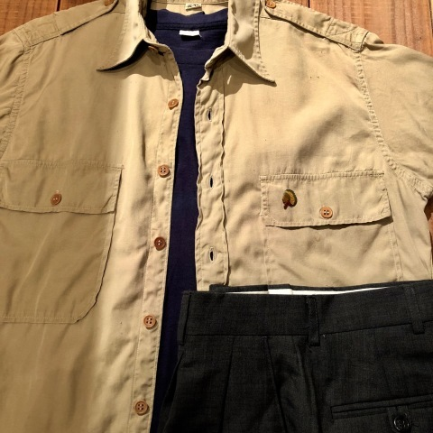 """1940s \"""" U.S ARMY \"""" 100% cotton VINTAGE OFFICER - マチ付き - CHINOS SHIRTS ._d0172088_18375398.jpg"""