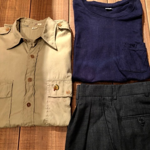 """1940s \"""" U.S ARMY \"""" 100% cotton VINTAGE OFFICER - マチ付き - CHINOS SHIRTS ._d0172088_18480280.jpg"""