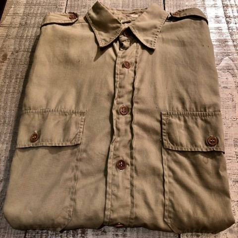"""1940s \"""" U.S ARMY \"""" 100% cotton VINTAGE OFFICER - マチ付き - CHINOS SHIRTS ._d0172088_18561455.jpg"""