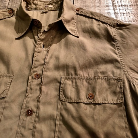 """1940s \"""" U.S ARMY \"""" 100% cotton VINTAGE OFFICER - マチ付き - CHINOS SHIRTS ._d0172088_18594943.jpg"""