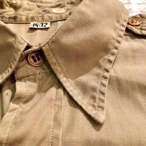 """1940s \"""" U.S ARMY \"""" 100% cotton VINTAGE OFFICER - マチ付き - CHINOS SHIRTS ._d0172088_19012534.jpg"""