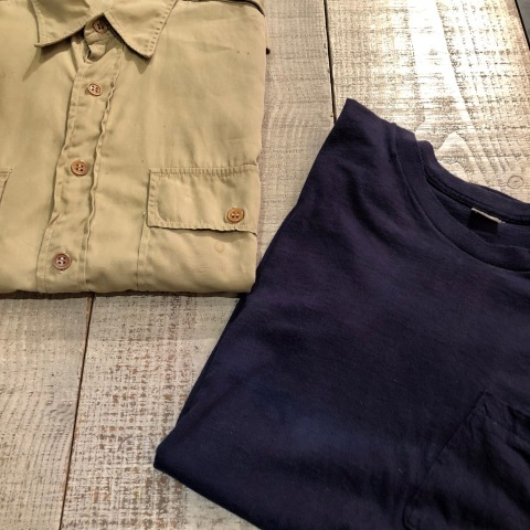 """1940s \"""" U.S ARMY \"""" 100% cotton VINTAGE OFFICER - マチ付き - CHINOS SHIRTS ._d0172088_19130121.jpg"""