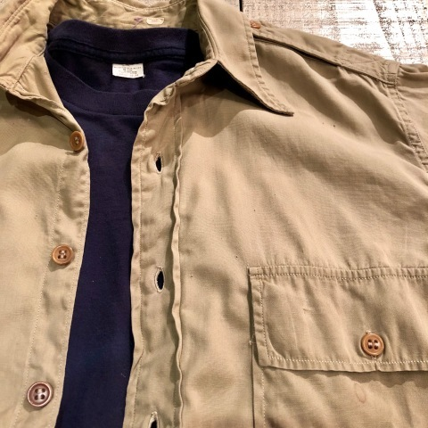 """1940s \"""" U.S ARMY \"""" 100% cotton VINTAGE OFFICER - マチ付き - CHINOS SHIRTS ._d0172088_19213509.jpg"""
