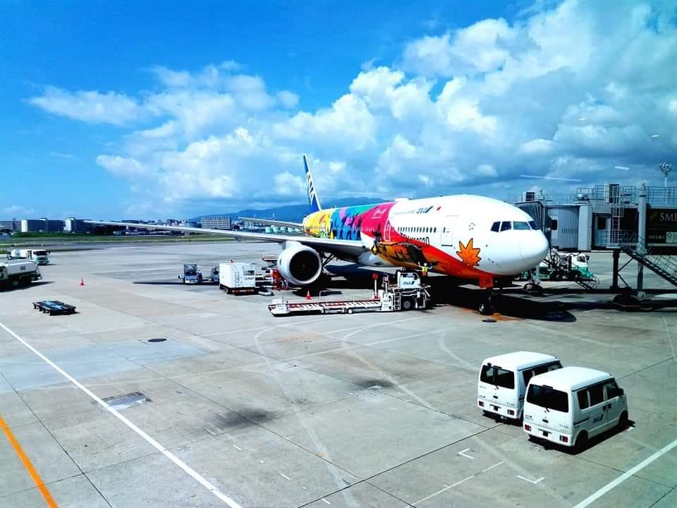 東京オリンピックカラーの飛行機に搭乗!_b0083801_23292217.jpg
