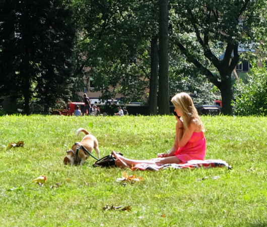 夏の終りのセントラルパーク、ピンク・ワンピと赤チェック・スカーフ_b0007805_21300015.jpg