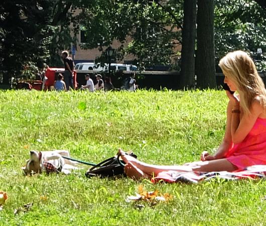 夏の終りのセントラルパーク、ピンク・ワンピと赤チェック・スカーフ_b0007805_21301905.jpg