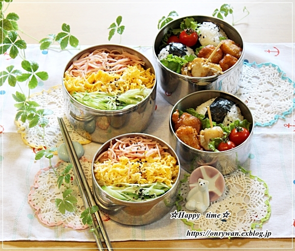 冷やし中華弁当とパン焼き~リクのつぶやき♪_f0348032_16523526.jpg