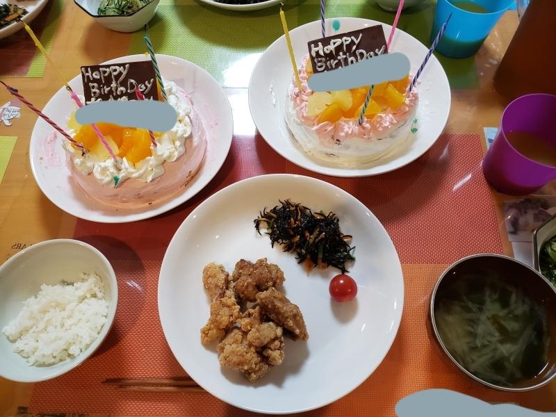 あじさい荘夕食 鶏の唐揚げ定食 手作り誕生日ケーキ_c0357519_20483623.jpg