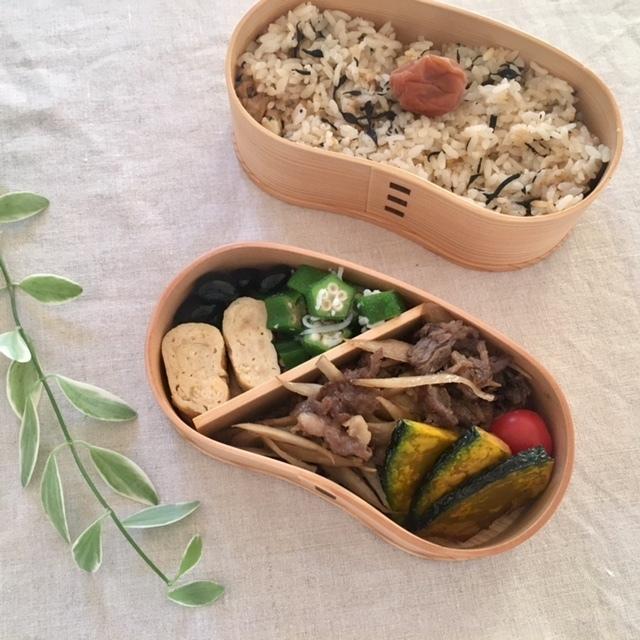 lunch box   炊き込みご飯を詰めて_a0165160_23375638.jpg