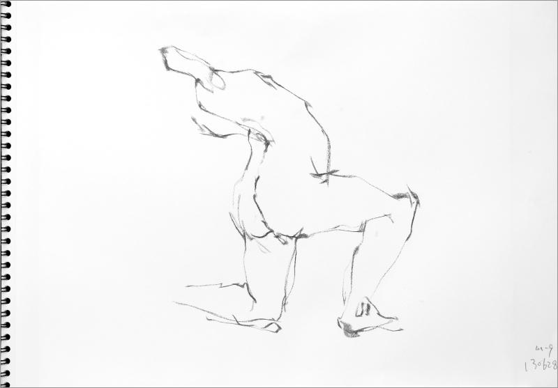 《  秋の始めの 裸婦線描 90秒 》1_f0159856_11002087.jpg