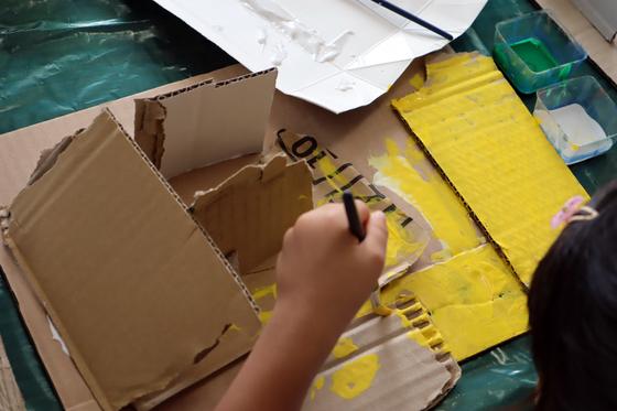 やと子ども美術教室 ~  ダンボールでつくる立体 ~_e0222340_1557365.jpg