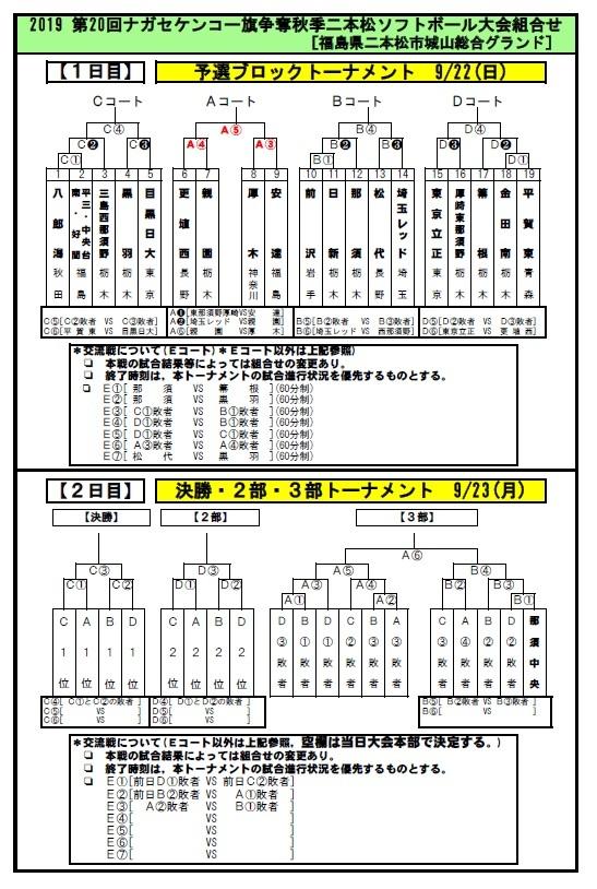 第20回ナガセケンコー旗争奪秋季二本松ソフトボール大会組み合わせ_b0249247_23553957.jpg