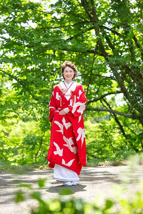 赤地に白鳩色打掛の可憐花嫁姿 in金沢_b0098077_15382798.jpg