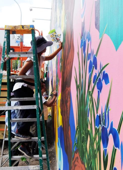 日本人アーティスト、松山智一さんによるバウリー壁画の作り方_b0007805_06594407.jpg