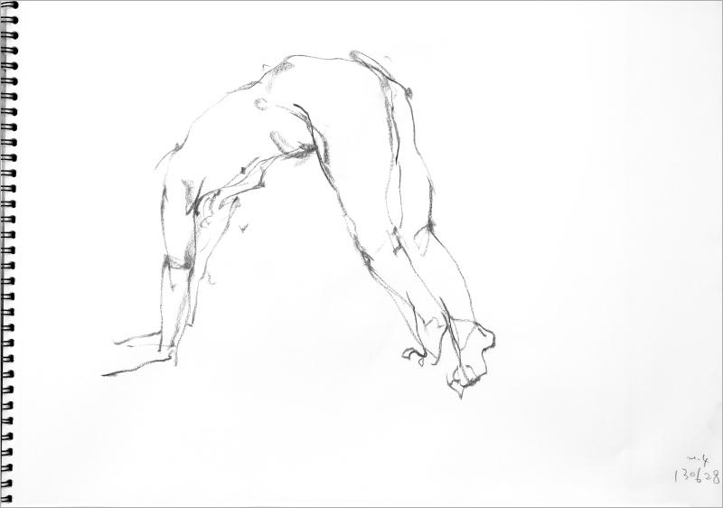 《  秋の始めの 裸婦線描 90秒 4 》_f0159856_09302189.jpg