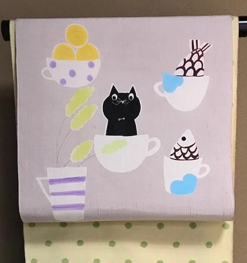 商品紹介・型絵染岡田その子さん・黒猫の名古屋帯。_f0181251_16005662.jpg
