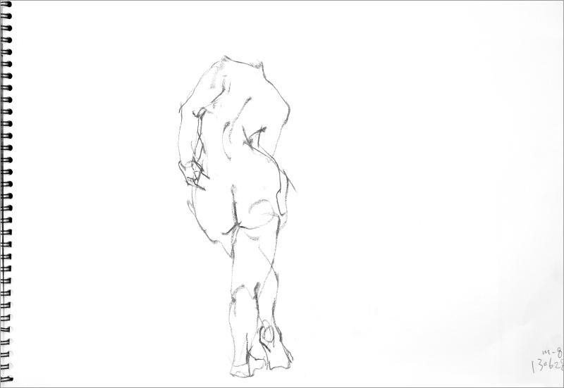 《  秋の始めの 裸婦線描 90秒  》  5_f0159856_08165207.jpg