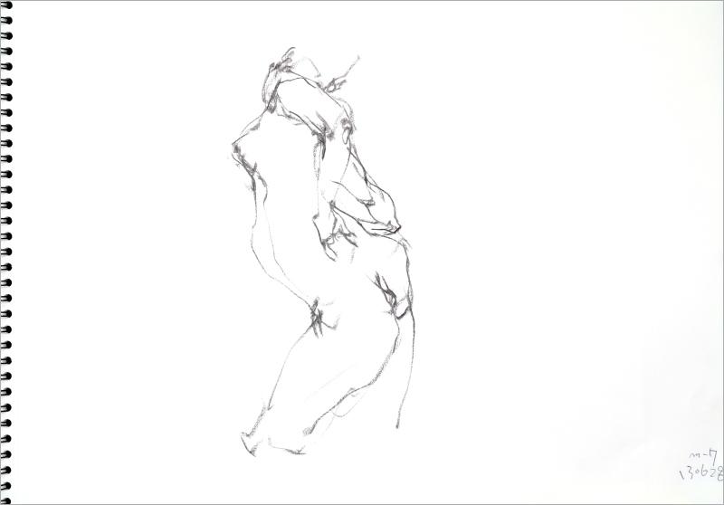 《  秋の始めの 裸婦線描 90秒  》  6_f0159856_07391470.jpg