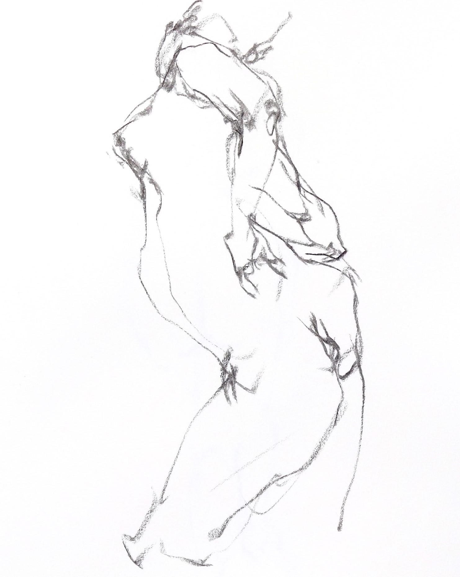 《  秋の始めの 裸婦線描 90秒  》  6_f0159856_07393093.jpg