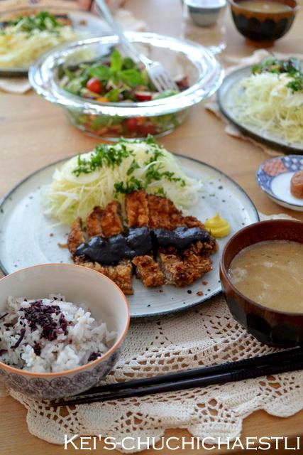 バジルとタコの彩りサラダと味噌カツごはん_c0287366_203234.jpg