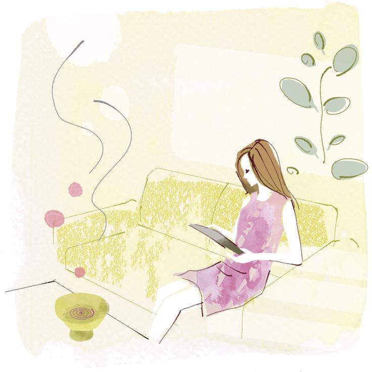 リビングで くつろぐ女性 〜和の香りを楽しむ お香入門より_f0172313_02435857.jpg