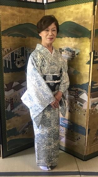 ランチ会・夏小紋にまいづる夏名古屋帯・9月の単衣にも。_f0181251_16080372.jpg