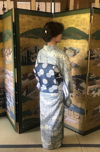 ランチ会・夏小紋にまいづる夏名古屋帯・9月の単衣にも。_f0181251_16102572.jpg
