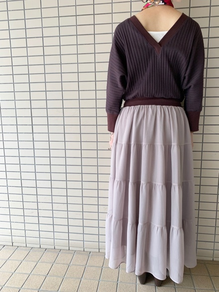 QUINOA BOUTIQUE◆ワイドリブ×シフォンone-piece◆_e0269968_15430790.jpg