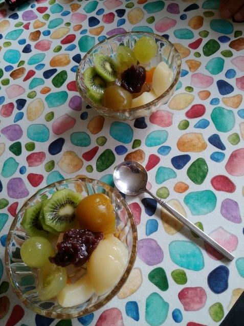 フルーツみつ豆食べていざ病院へ_c0162773_13121265.jpg
