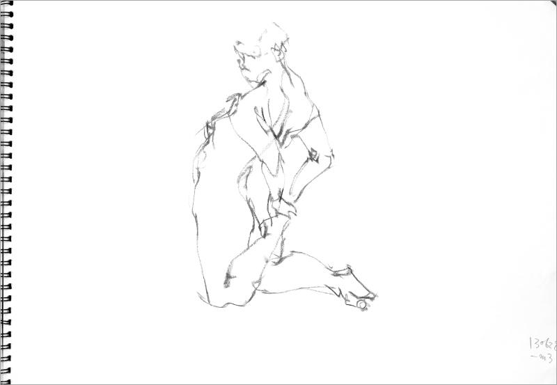 《  秋の始めの 裸婦線描 90秒  》  8_f0159856_09522609.jpg