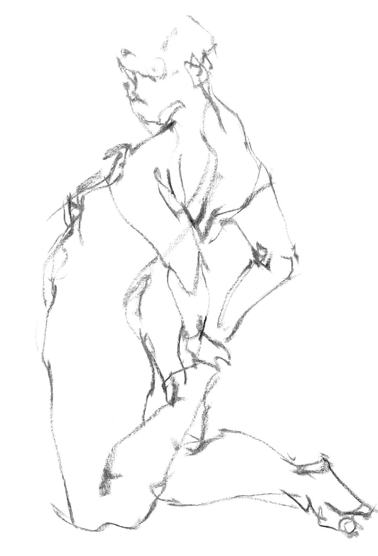 《  秋の始めの 裸婦線描 90秒  》  8_f0159856_09523540.jpg