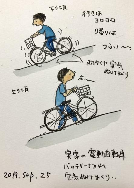 バッテリー切れ 空気漏れまくり自転車_f0072976_23191542.jpeg