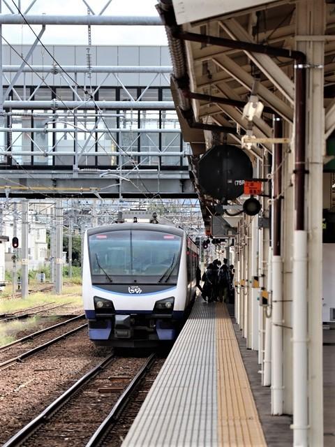 藤田八束の鉄道写真@弘前駅からの鉄道写真、奥羽線通勤通学列車は元気いっぱい、リゾート「しらかみ」は楽しげな家族たち、駅には楽しめる展示品がいっぱいです。おもてなしの駅弘前にて_d0181492_07340723.jpg