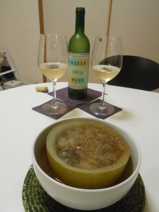 機山ワインの白を冬瓜に合わせました。_a0095931_08301581.jpg